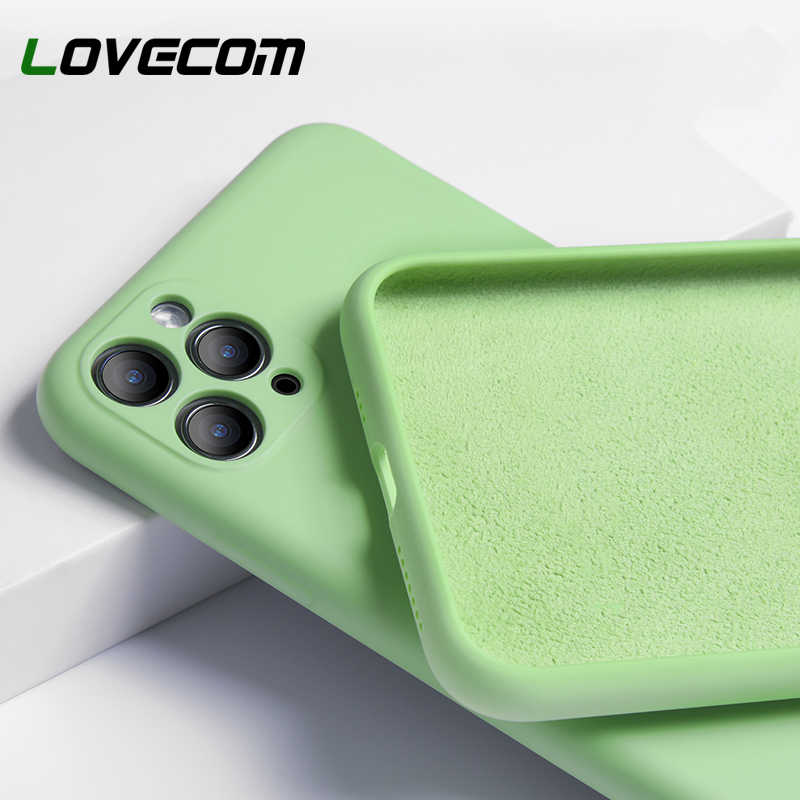 LOVECOM  Camera Protection Phone Case For iPhone 11 Pro Max Original Liquid Silicone Flexible Shockproof Soft Phone Back Cover