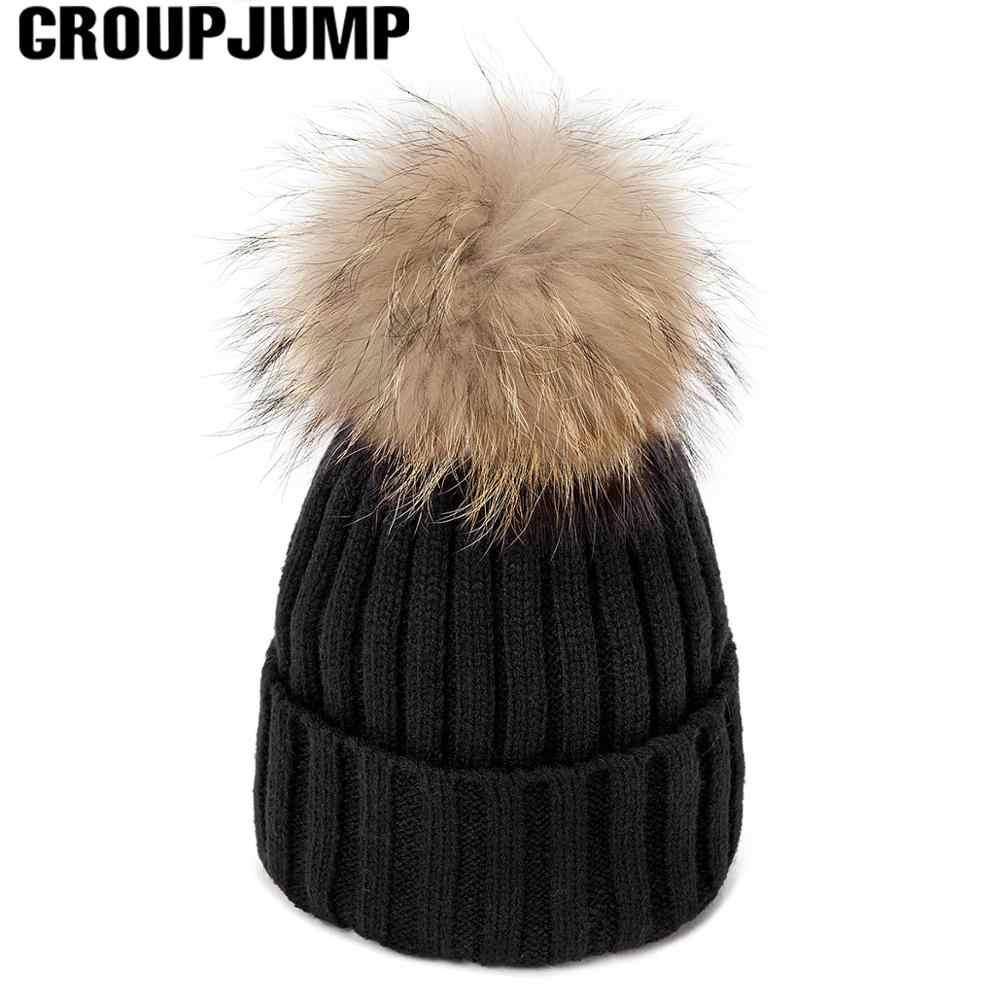 2019 ผู้หญิงฤดูหนาวหมวกขนสัตว์ Pom Pom หมวกหมวกผู้หญิงหมวกถัก Beanies หมวกหนาหมวกผู้หญิง Skullies Beanies