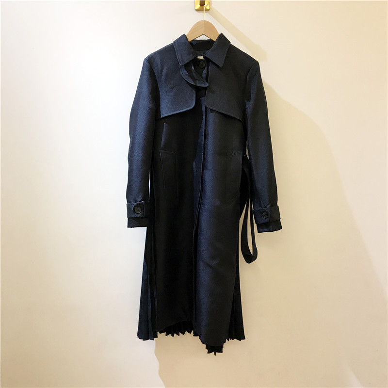 Women Trench 2019 Autumn and Winter New  Stand Collar Tie Bow Long JacketTrench