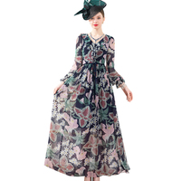 2020 Bohemian Spring Autumn Chiffon Long Dress V Neck Cascading Ruffle Printed Ankle Length Women Runway Dress Vintage DZ2489