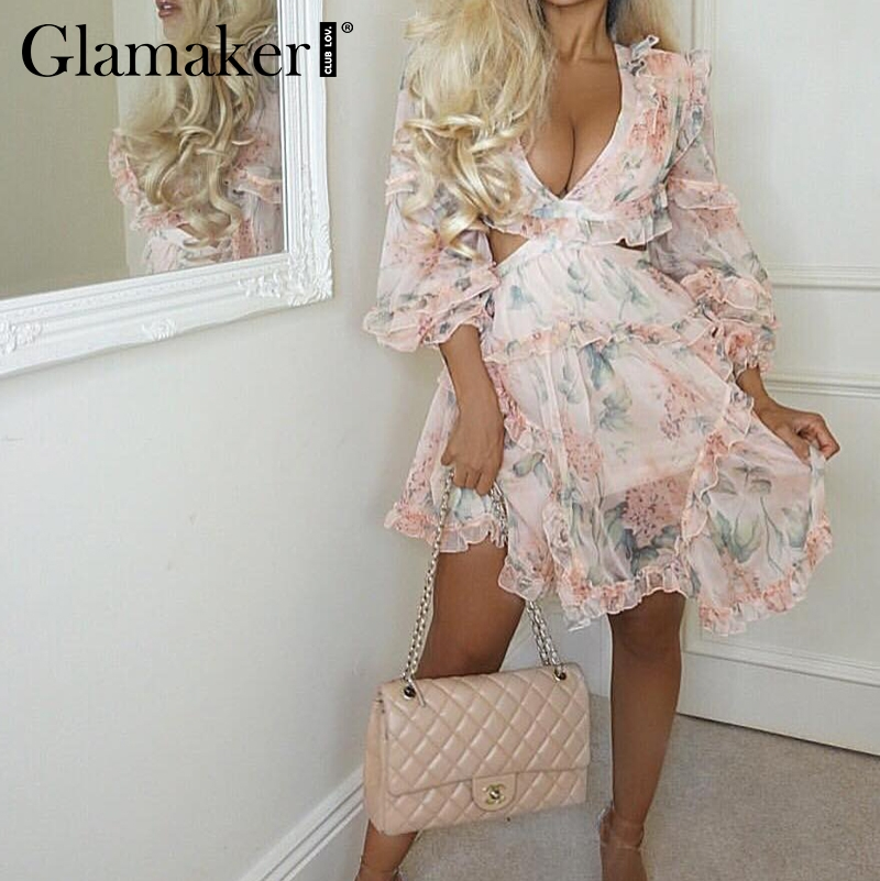Glamaker Backless Chiffon V Neck Short Jumpsuit Women Lace Up Ruffles Beach Playsuit Female Elegant Summer Party Romper Overalls
