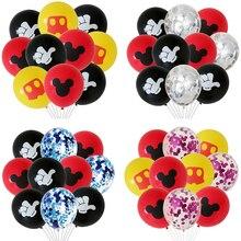 10pcs Mickey cartoon Mouse Balloons Kids Birthday Party Decoration Helium Confetti Baby Shower Red Black Minnie Latex Balloon