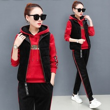 Winter Women Sport Suit Tracksuit Thick Velour Warm Jacket Loose Hoodies Sweatpant Casual Jogger Running Outfits Set Sportswar недорого