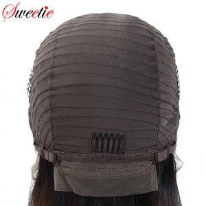 Image 3 - Sweetie 13X4 Ren Mặt Trước Con Người Tóc Giả Brasil Thẳng Ren Mặt Trước Tóc Giả 1B/99J/30 Remy tóc Ombre Tóc Giả Cho Nữ Màu Đen