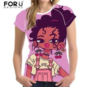 FORUDESIGNS/черная футболка с принтом в африканском стиле для девочек; Женская эластичная футболка; женские топы с короткими рукавами для женщин;...