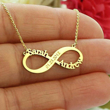 Personalized Custom Name Infinite Necklace Collares Bijoux Customized Nameplate Gold Chain Necklaces For Women Bridesmaid Gift