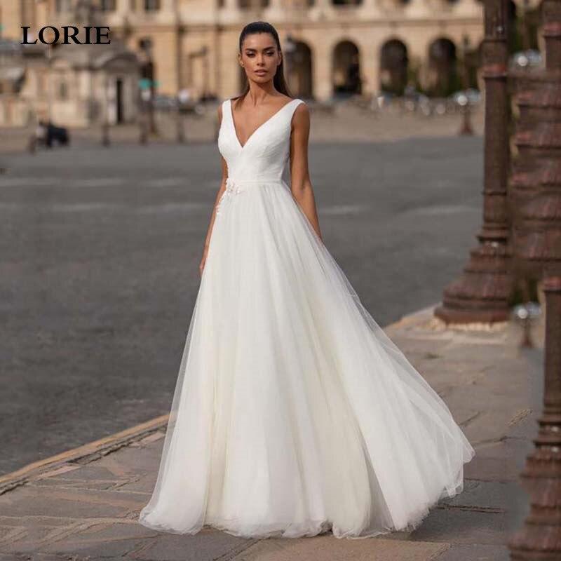 LORIE A Line Wedding Dress Deep V Neck Sexy Bridal Boho Lace Bridal Gowns Backless Vestidos De Novia