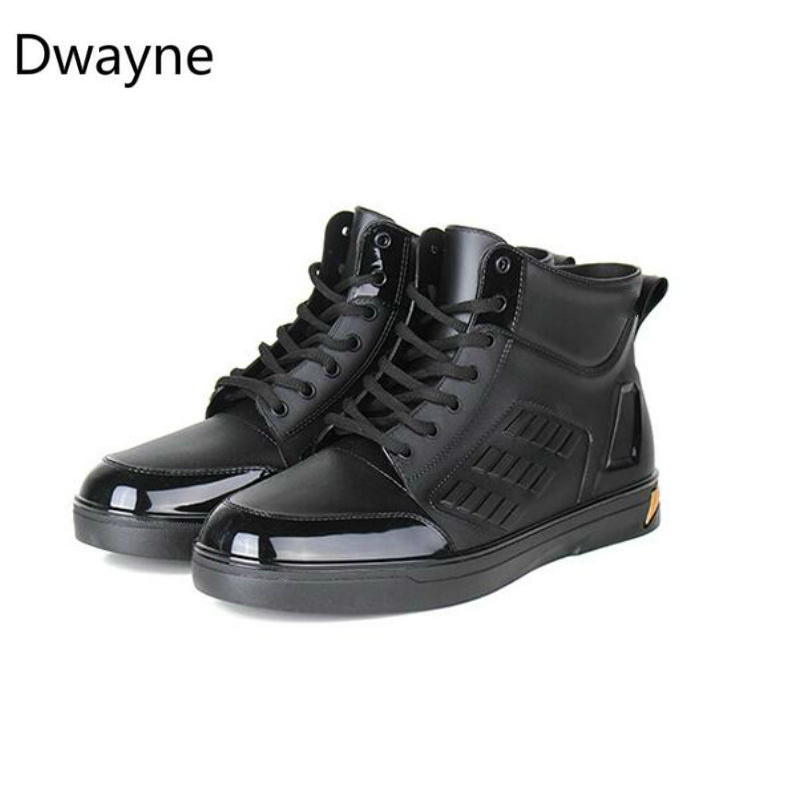 Dwayne Men's Rainboots Waterproof Spring Winter Rain Shoes Men Rain Boy Water Rubber Black Ankle Boots Lace-Up Shoes