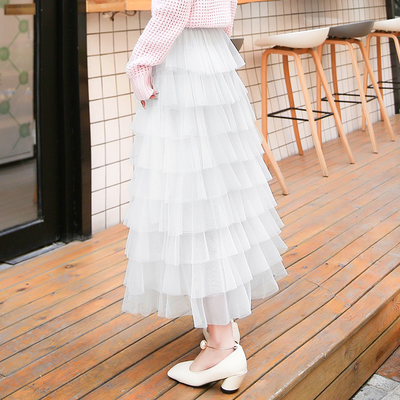 Multi-Level Network Mesh Dress Cake Dress Women's 2019 Autumn & Winter New Style Tutu Pleated Skirt Fairy Skirt Mesh Dress