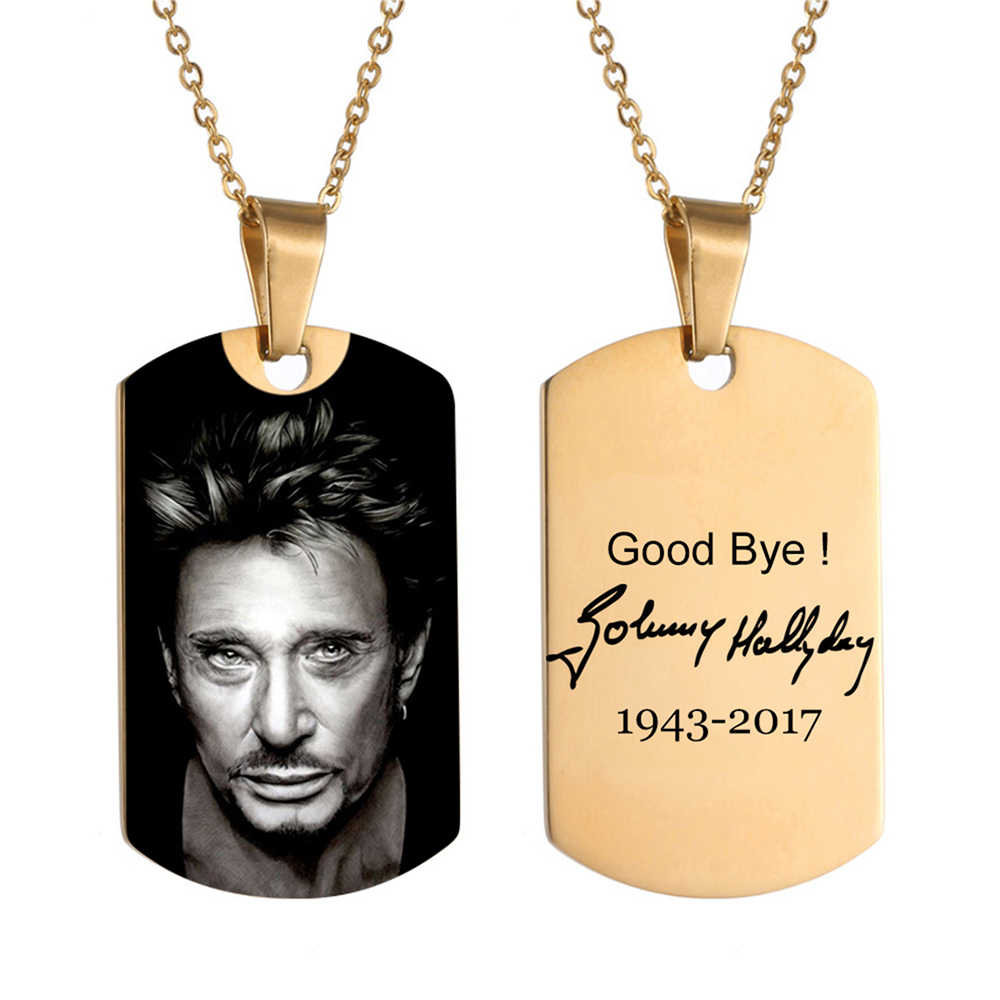 Johnny Hallyday Photo Name Custom Necklace Heart ID Tag Hip hop Personalized Stainless Steel Gold Silver Chain Women Men Jewelry