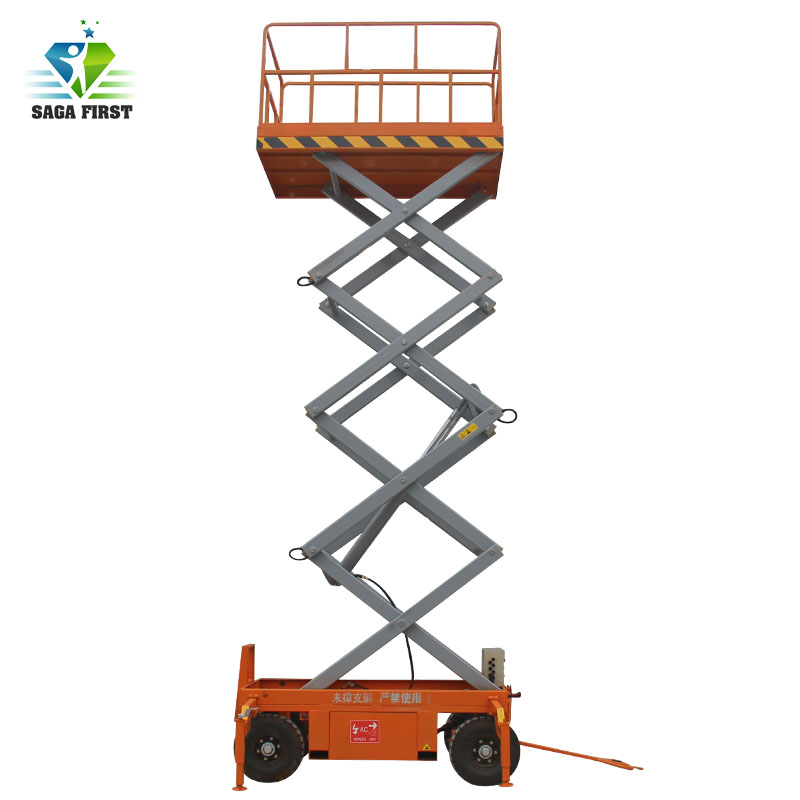 Very Popular Mobile Hydraulic Scissor Lift Table 1 Ton With Lifting Height 4m, 6m, 10m, 12m