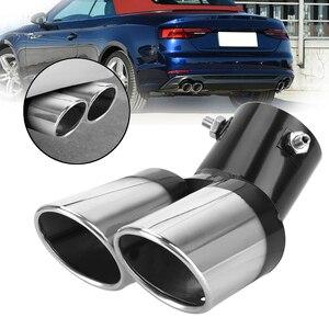 Image 1 - Universal escape do carro guarnição silenciador pipetail acessórios do carro aço inoxidável curvo dupla saída decoração do carro cromo tubo de cauda