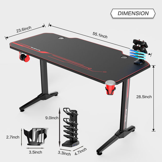 43/47/55 Ergonomic Gaming Desk E-sports Computer Table PC Desk Gamer Tables Workstation with USB Gaming Handle Rack&Mouse Pad 3