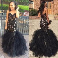 African Evening Dress Elegant Sweetheart Applique Lace Women Wedding Guest Dress Party Formal Sexy Mermaid Black Prom Dresses