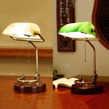 Lámpara de escritorio banqueros Vintage, accesorio de iluminación de mesa tradicional, pantalla de vidrio verde, base de madera, lámpara de escritorio de oficina E27 AC110-240V