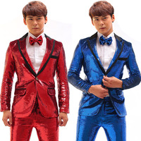 Male Rock Singer Jazz Dance Costume Punk Costume Sequin Suit Jacket + Pants Nightclub Bar Host Stage Performance Costume DWY2730