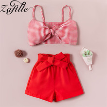 ZAFILLE Baby Girl Clothes Summer Red Toddler Kids Clothes Set Infant Plaid Top+Solid Shorts Outfit Girls Suit 2Pcs Baby Clothing baby child girls kids clothing bow knot flower sleeveless vest t shirt tops ves shorts pants outfit girl clothes set 2pcs infant page 4 page 5