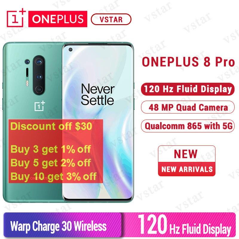 Firmware global oneplus 8 pro 5g celular 6.78 polegada snapdragon 865 octa núcleo android 10 30 w carregador 2 k 120 hz nfc smartphone