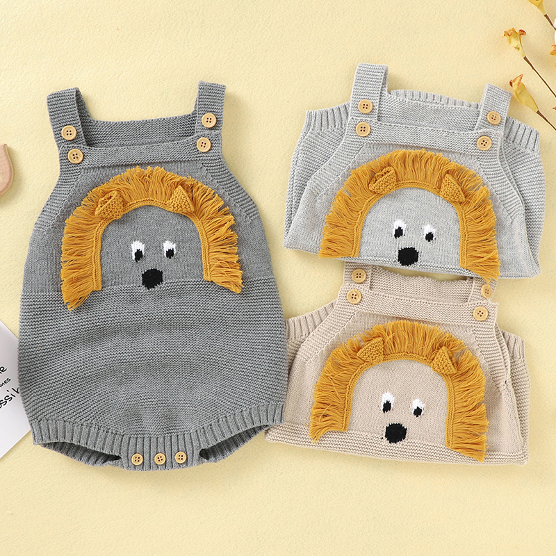Autumn Newborns Boys Girls Jumpsuits Clothes New Baby Rompers Knitted Cartoon 3D Lion Autumn Sleeveless Toddler Sweaters Outfit | Happy Baby Mama