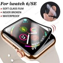 Protetor de tela impermeável para apple watch 6/se 44mm 40mm (vidro macio não temperado) filme para iwatch 5/4/3/2/1 44 42 40 38mm