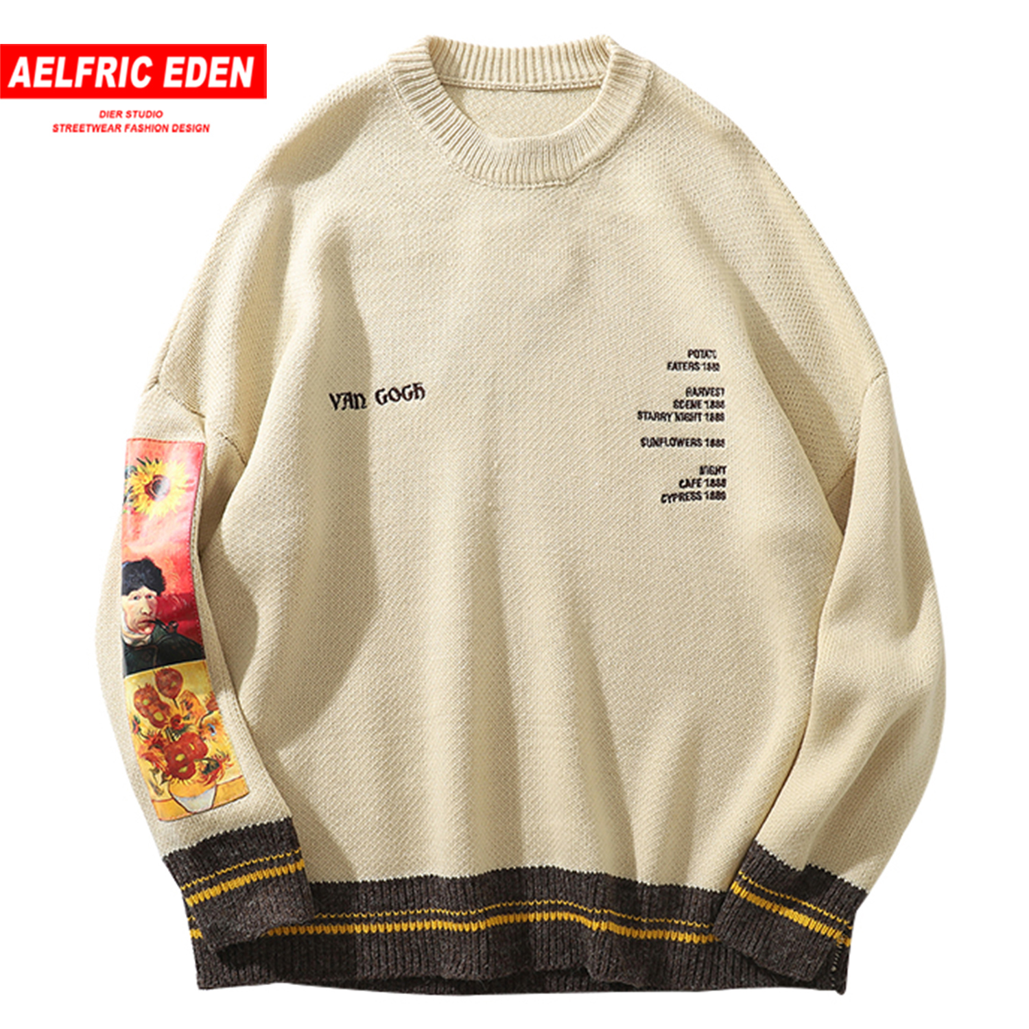 Aelfric Eden Hip Hop Sweater Pullover Men Van Gogh Painting Embroidery Knitted Sweater Harajuku Streetwear Tops Casual Pullover