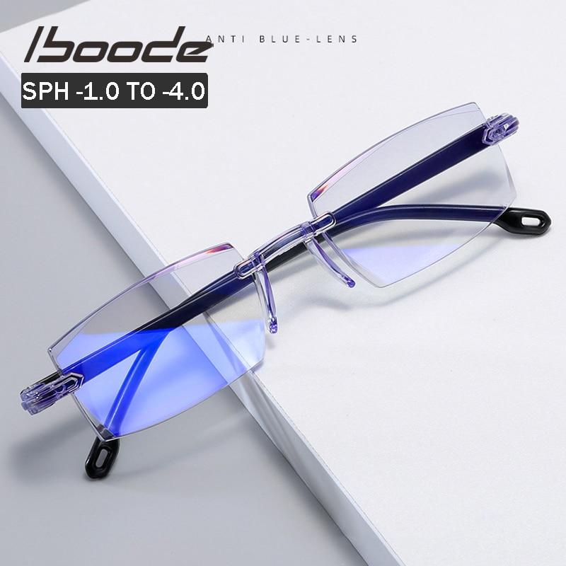 iboode -1.0 -1.5 -2.0 -2.5 -3.0 -4.0 Finished Myopia Glasses Classic Anti blue Light Prescription Optical Eyeglasses Women Men
