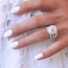Silber Farbe Ringe Frauen Luxus Zirkon Hochzeit Engagement Ring Schmuck Geburtstag