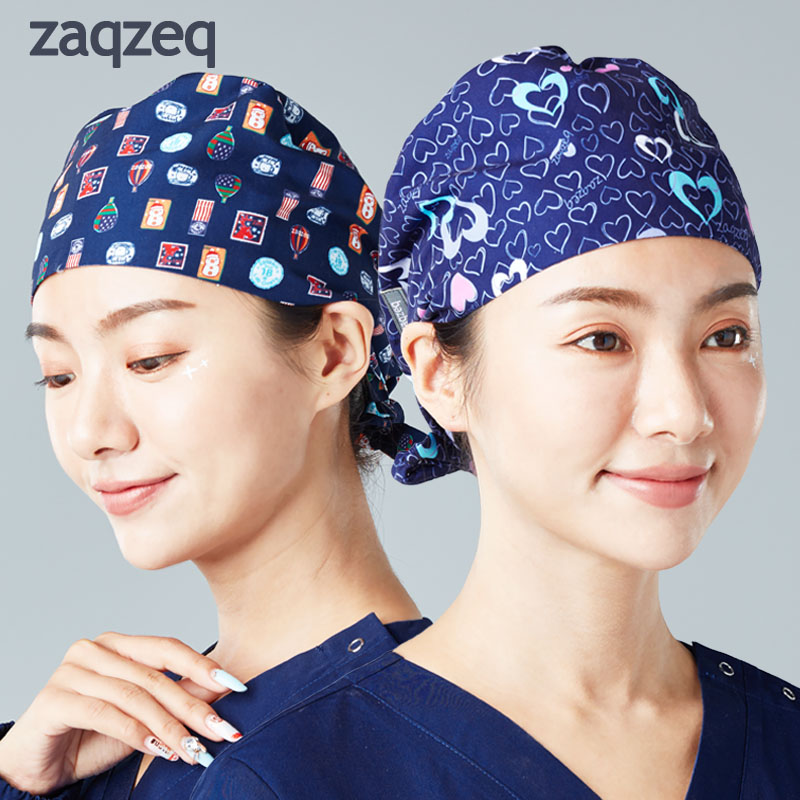 Surgical Cap Men And Women Doctor Hat Nurse Hat Operating Room Hat Beauty Pet Hospital Printing Work Hat Gourd Hat