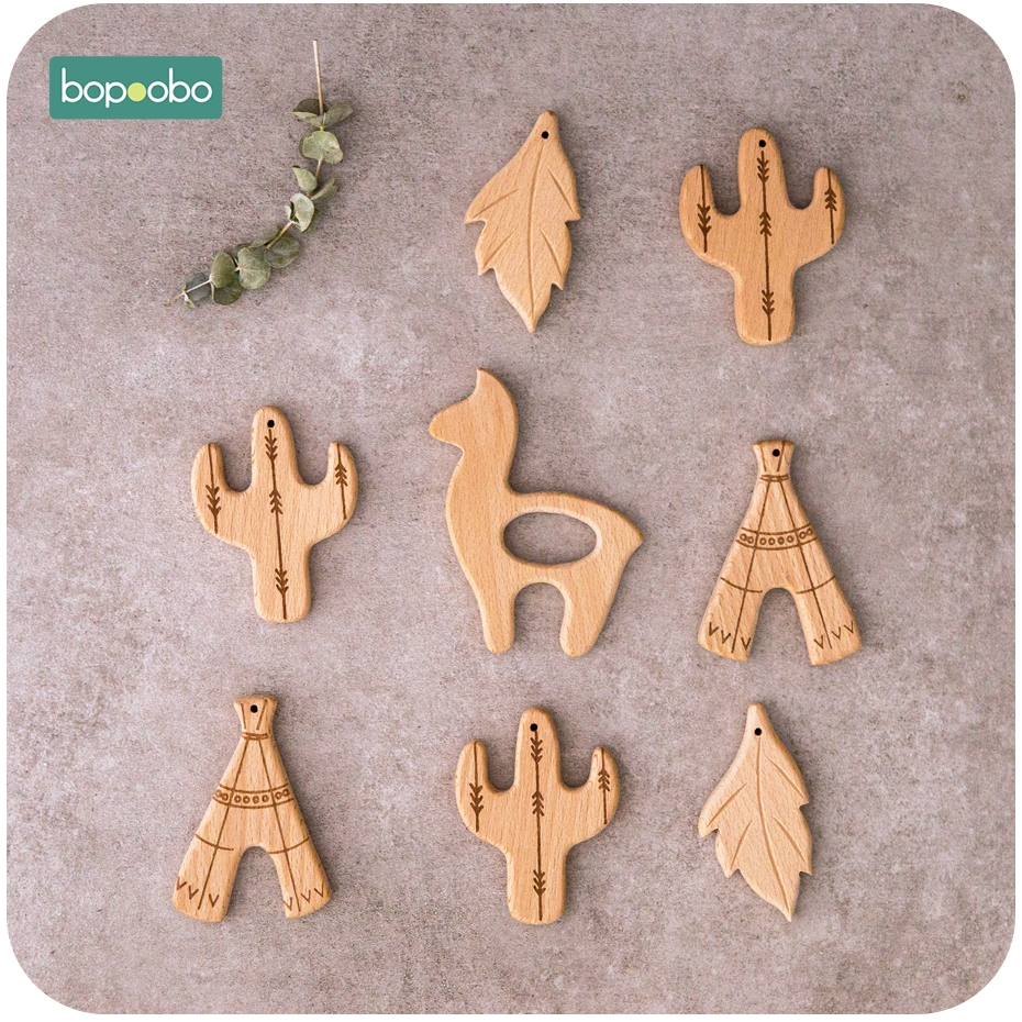 Bopoobo Baby Teethers Carriage Toys 10pc Wooden Bird Can Chew Beech Wood Educative Toys Teething Jewelry Baby Wooden Teether