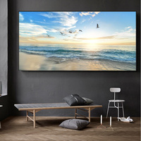 Arte de pared moderno para sala de estar, pintura en lienzo decorativa de olas de Mar, Playa, atardecer, carteles e impresiones de paisaje marino natural