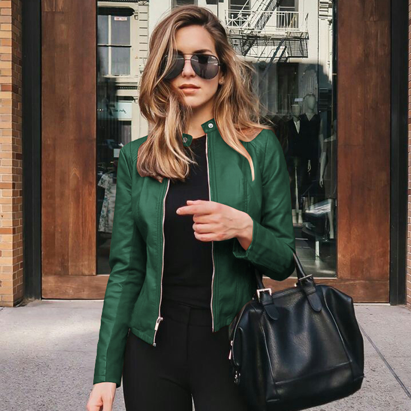2020 Autumn Pu Leather Jacket For Women Korean Style Biker Jackets Skinny O Neck Casual Outwear Solid Coats Femme Chaqueta Mujer