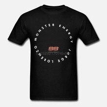T-shirts de manga curta para homem jorge lorenzo estampas de moda dupla algodão preto