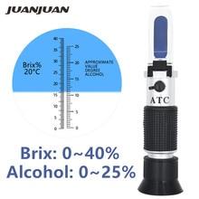 Портативный спиртовый рефрактометр, с функцией определения содержания сахара, измеритель концентрации вина, денситометр 0-25%, спирт, пиво 0-40%, БРИКС, виноград, УВД скидка 48