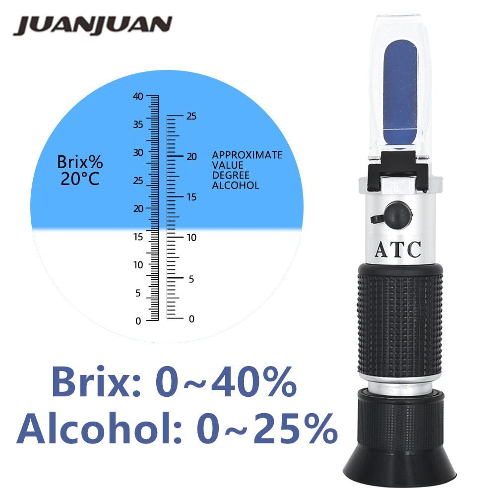 Refractómetro de alcohol manual, medidor de concentración de azúcar y vino densitómetro 0-25% alcohol cerveza 0-40% Brix uvas ATC 48% de descuento
