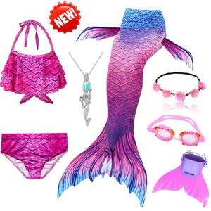 Image 2 - Hot Girls Swimming Mermaid Tail Cosplay Mermaid Costume Swimsuit With or No Monofin Fin Flipper Kids Swimmable Children Swimwear