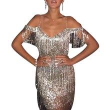 Sexy Tassel Dress For Women Shining Party Night Spaghetti Strap Mini vestido 2019 Fashion Club ropa mujer D25
