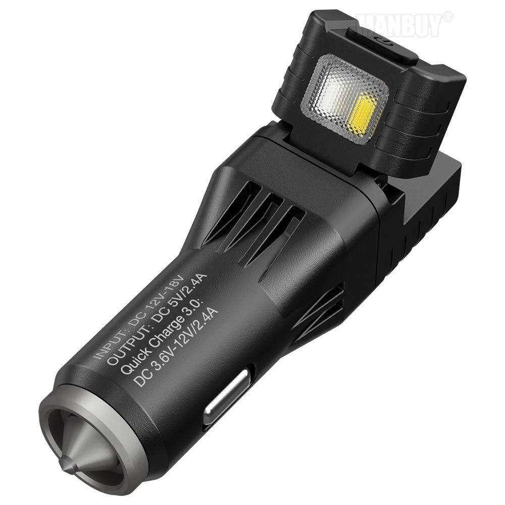 2020 nowy Nitecore vcl10 wielofunkcyjny uniwersalny gadżet pojazdu QC 3.0 ładowarka samochodowa element do tłuczenia szkła awaryjne światło ostrzegawcze