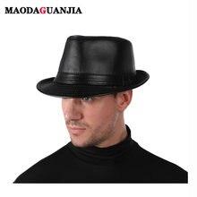 Новая кожаная фетровая шляпа винтажная джазовая Кепка ковбойский