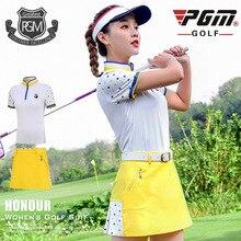 PGM гольф юбка наборы женская футболка с коротким рукавом Тонкая складчатая юбка спортивный костюм Женская дышащая Спортивная одежда для гольфа
