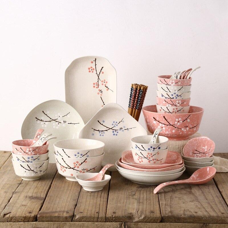 Estilo japonês Jogo de jantar Tigela/prato/prato/chopsticks/colher 46 Talheres pcs Set Reutilizável cerâmica com Pauzinhos de madeira - 2