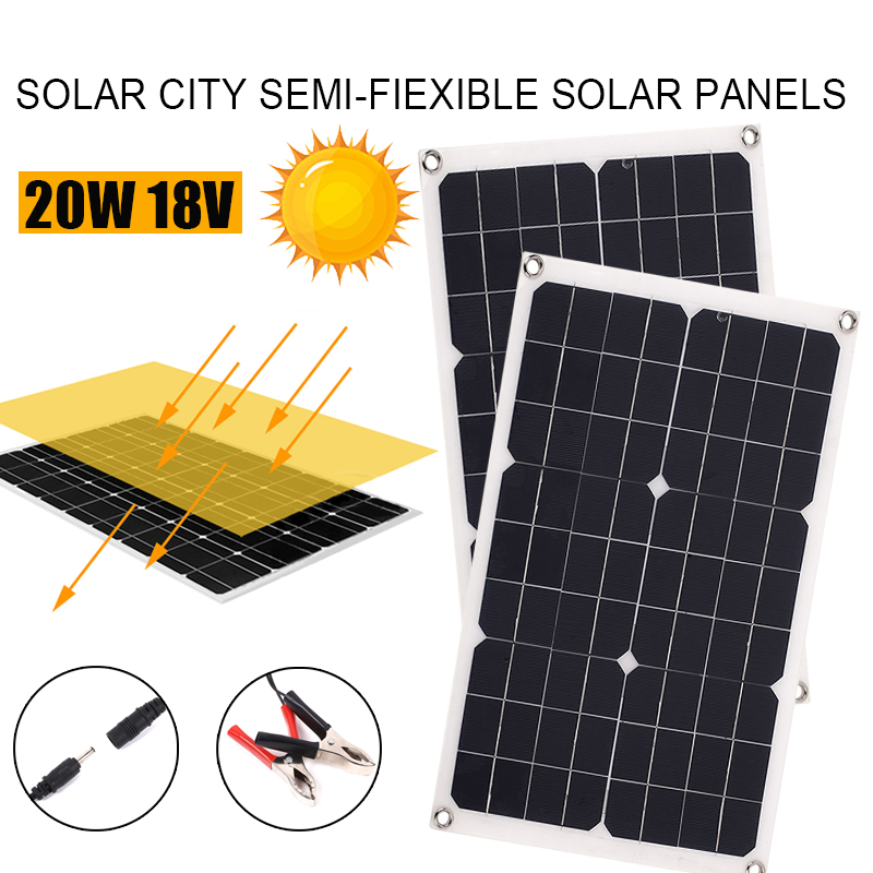Durable 20W 18V Solar Panel Travel Outdoor Solar Charger USB+DC Port Monocrystalline Silicon Car Battery Chargiing Power Bank