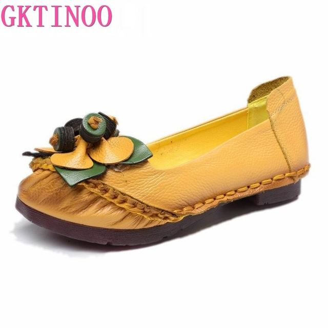 GKTINOO Spring Summer Handmade Genuine Leather Ballet Flats Shoes For Women Super Soft Breathable Female Shoes Flat With Flowers