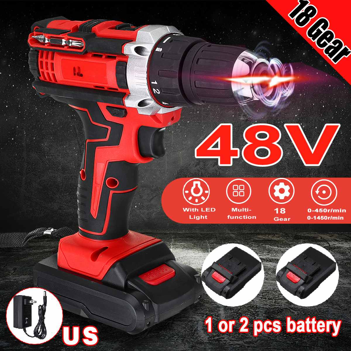 3 In 1 Electric Drill Cordless Screwdriver 48v 2 Speed Driver Rechargeable 13000mah With 2 Li-ion Battery 110v 220V