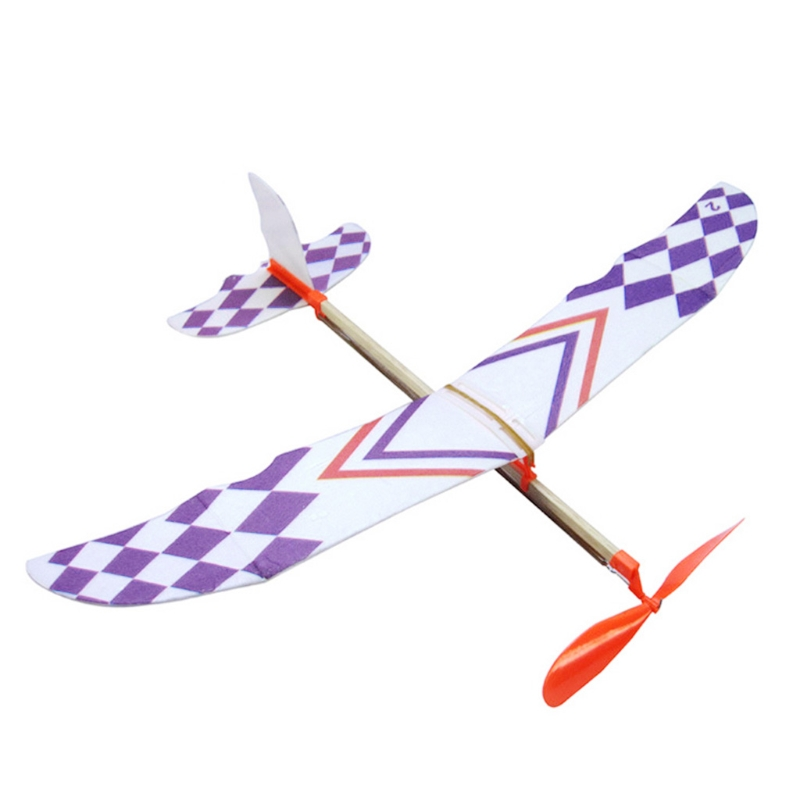 Rubber Band Powered Glider Flying Plane Airplane Model DIY Assembly Airplane For Kid Gift