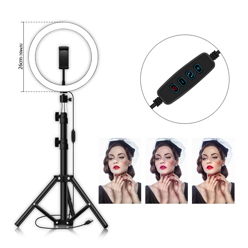 10inch 26CM Dimmable LED Selfie Ring Light Studio Photography Photo Fill Ring Light Tripod for iphone Smartphone Studio Makeup