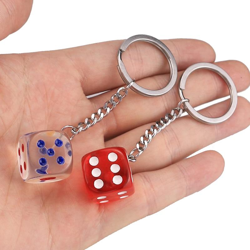 3D кольцо для ключей из нержавеющей стали с отверстием, большие кубики, настраиваемый Diy брелок для ключей, Женский стальной круглый раздельн...
