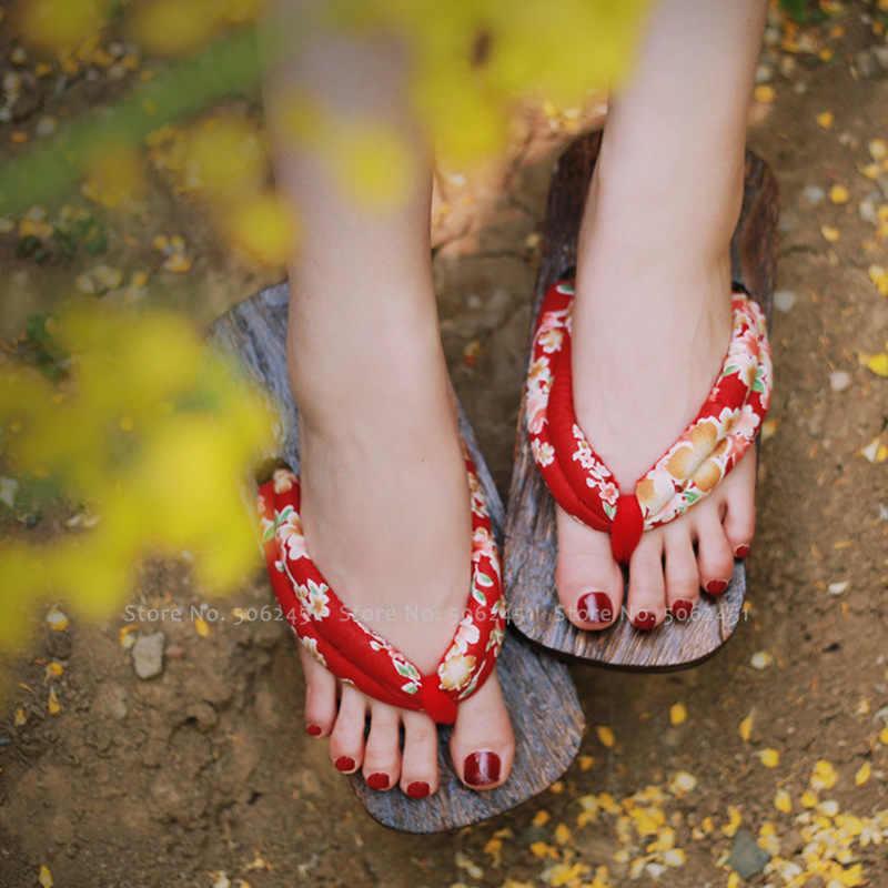 Geta Clogs Frauen Japanischen Stil Kimono Yukata Hausschuhe Kamado Nezuko Anime Cosplay Holz Schuhe Strand Flip-Flops Sakura Sandalen