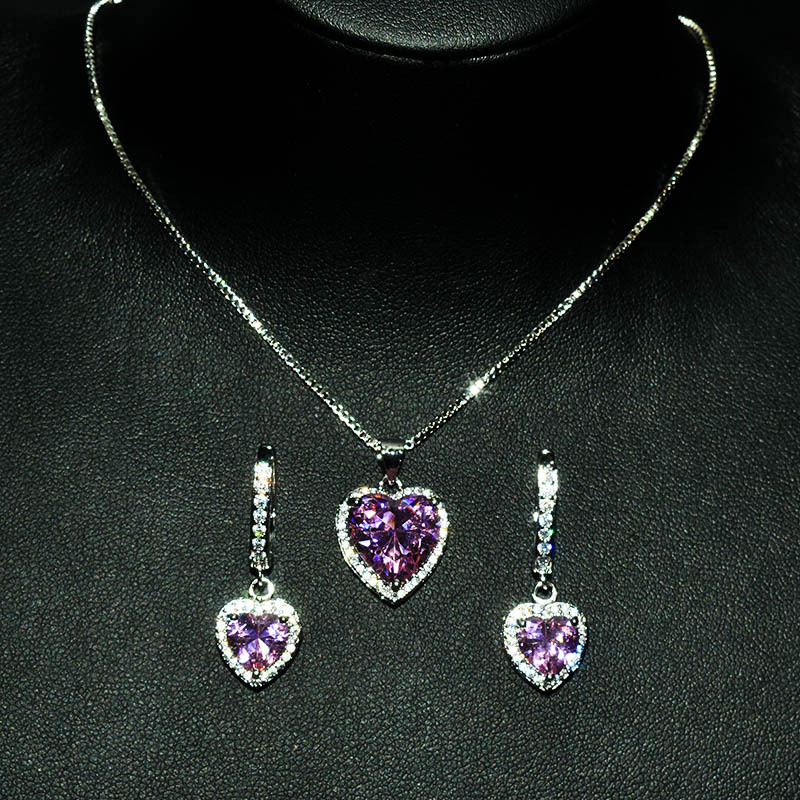 Heart Love Pink Sapphire cz Jewelry set Real 925 Sterling Silver Bijou Party Wedding Earrings Necklace For Women Bridal Jewelry