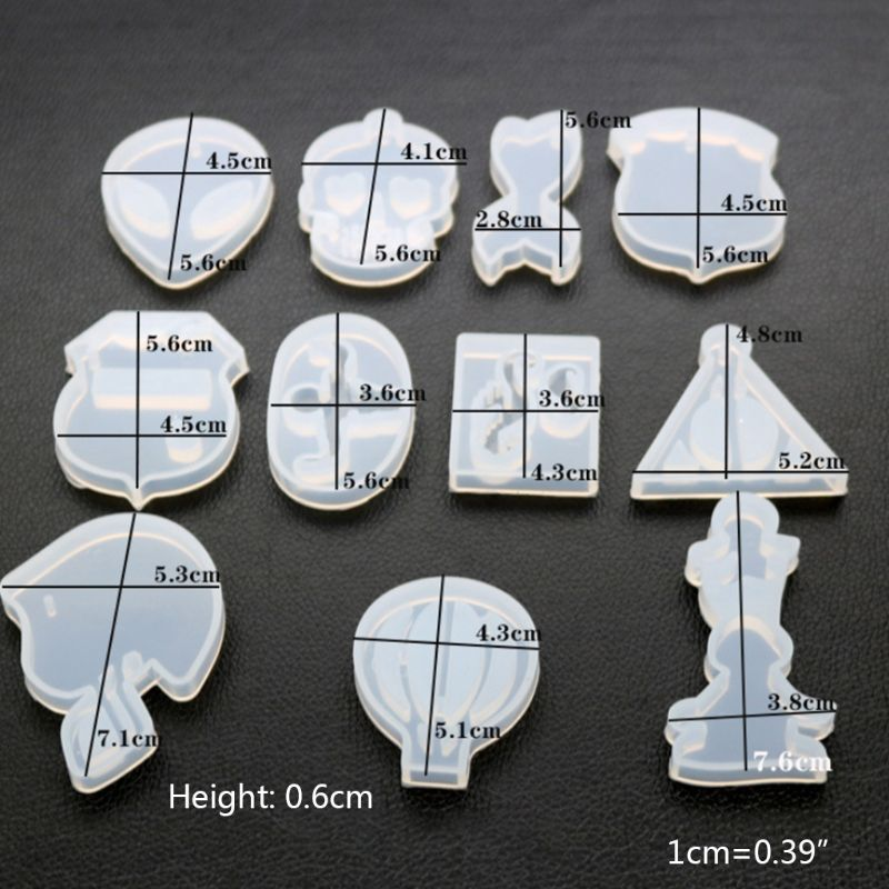 DIY Crystal Epoxy Silicone Mold High Mirror Hot Air Balloon Triangle Shape Molds 95AB
