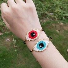 FAIRYWOO Cute Eye Bracelets Boho Jewelry Miyuki Bead Handmade For Women Gifts Adjustable Chain Charm Rope Drawstring